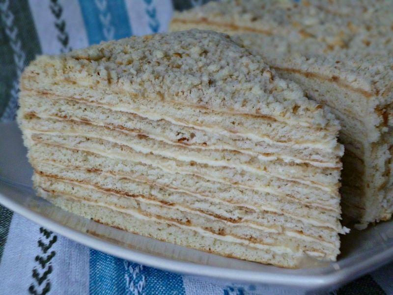 Торт на сковороде с сметанным кремом рецепт с фото
