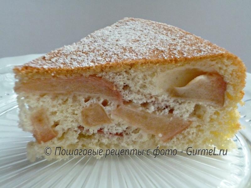 Пирог с творогом яблоками и безе рецепт